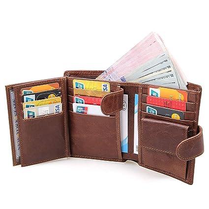 Billeteras Hombre, Cartera de Piel, Carteras Hombre Cuero, RFID Bloqueo Monedero de Cuero crédito con Caja de Regalo, 1 Bolsillo con Cremallera, 1 ...