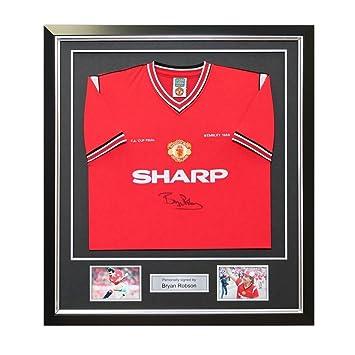 Bryan Robson Firmado Manchester United 1985 FA ganador de la Copa camiseta de fútbol. En