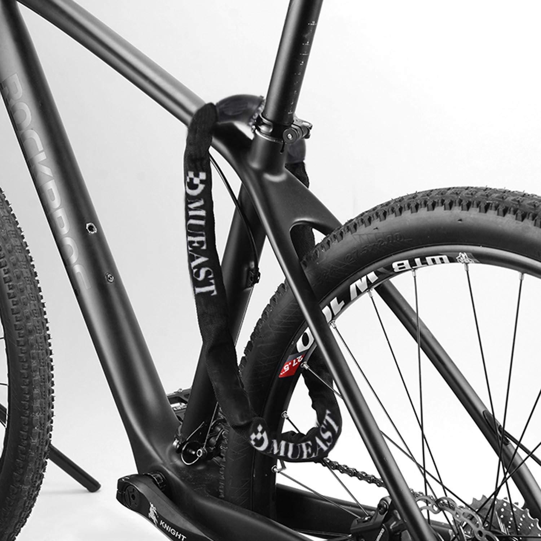 MUEAST Fahrradschloss, Zahlenschloss mit Stahlkettenglieder 7mm x 900mm Kettenschloss mit Zahlenkombination für Fahrrad und Motorrad, 860g (Black)