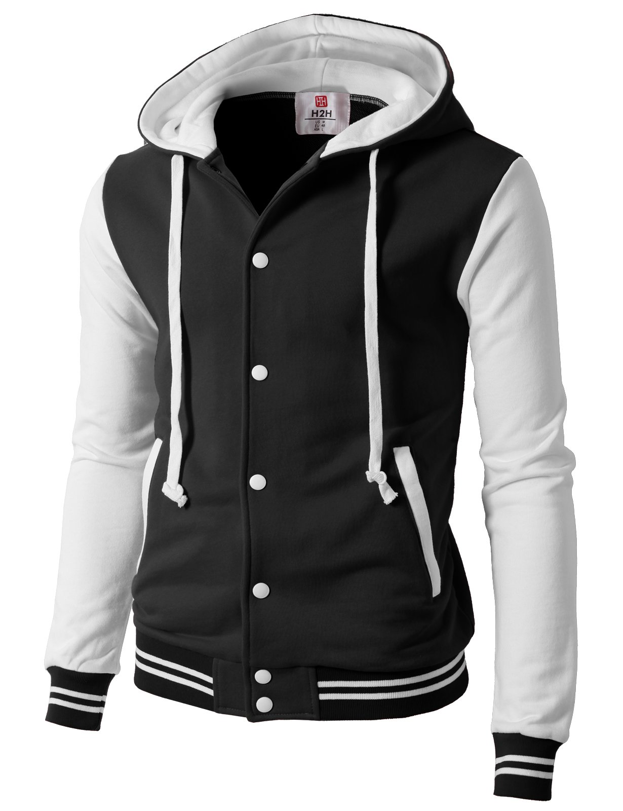 H2H Mens Casual Slim Fit Long Sleeve Color Block Hoodie Jacket Blackwhite US M/Asia L (CMOJA099) by H2H