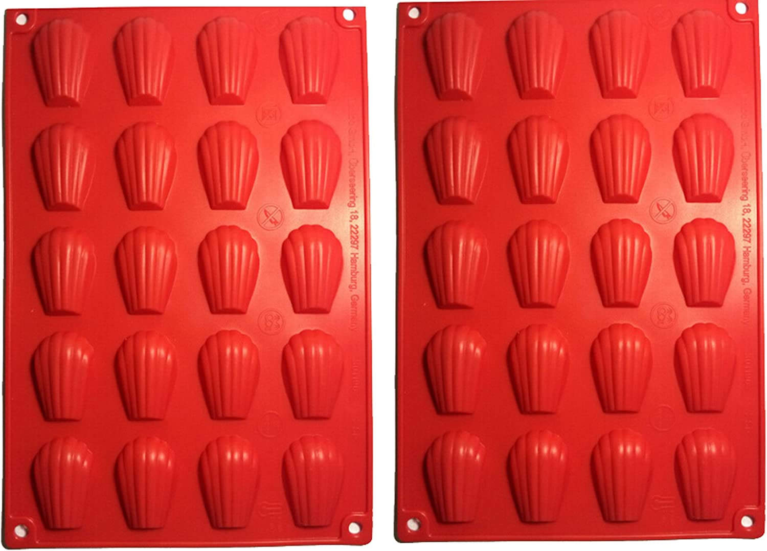 Fasmov 20-Cavity Silicone Madeleine Pan Cookie Mold,Baking Mold Handmade Soap Moulds and more,Set of 2 by Fasmov