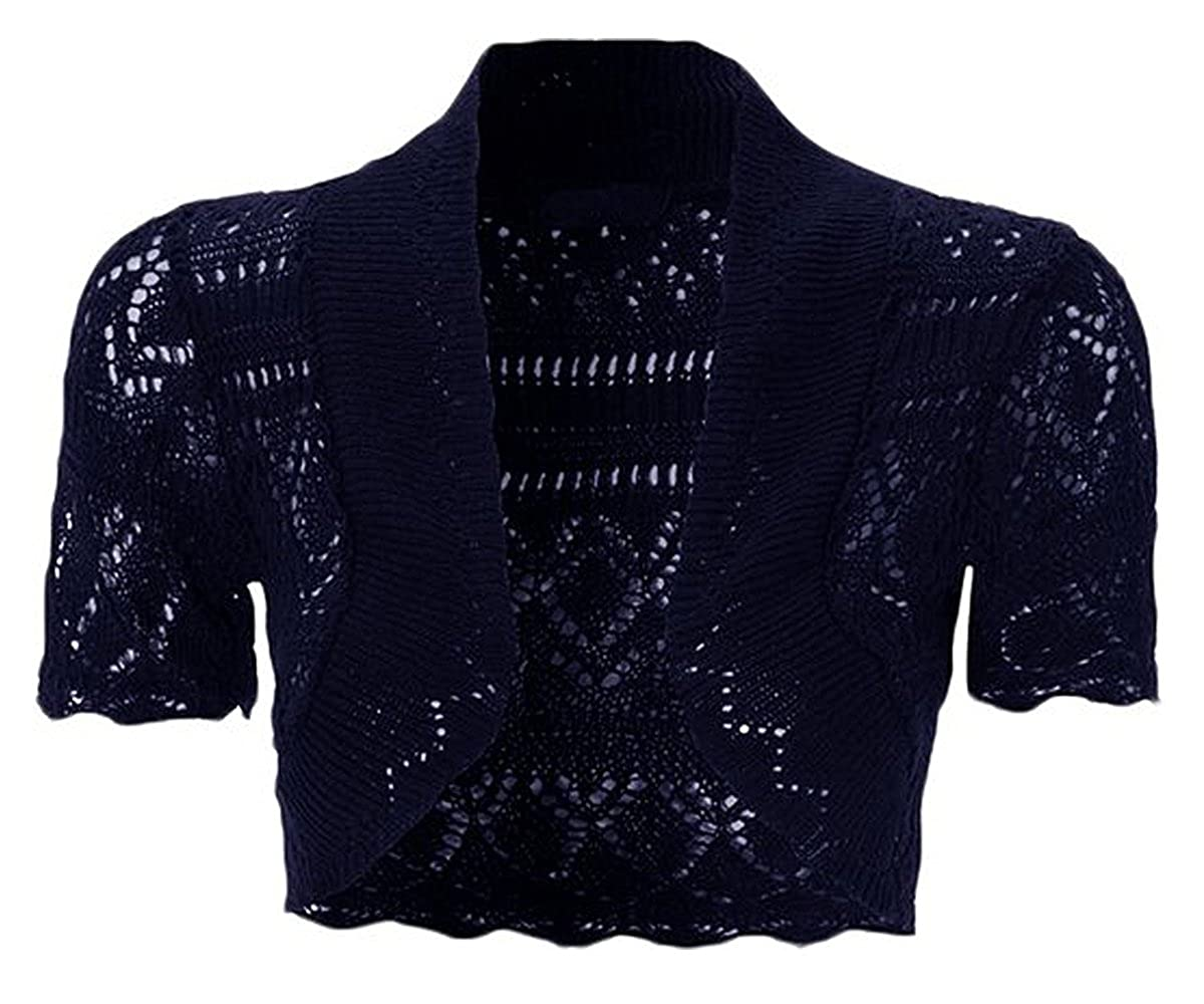 U States Lady USA Girls Kids Children Crochet Knitted Bolero Shrug Tops