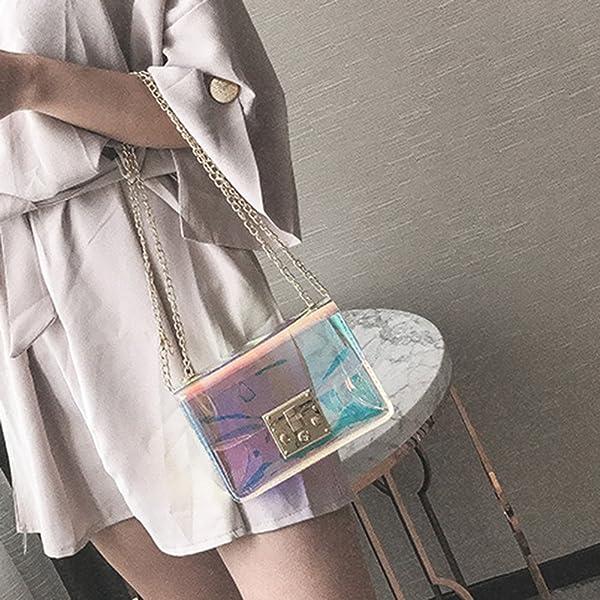 ec0c60a171 SODIAL Borsa donna trasparente Borsa PVC trasparente gelatina piccola Tote  Borse a tracolla -Holographic Donna. Indietro. Tocca ...