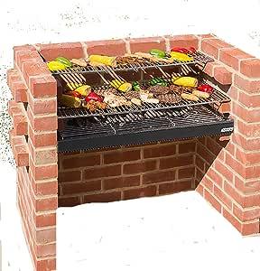 Parrillas de acero inoxidable barbacoa de ladrillos con pesados + calentamiento Rack + Cover + bolsa de almacenamiento 90 x 39 cm Negro Caballero bkb333: Amazon.es: Jardín