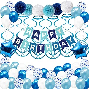 Birthday Party Decorations for Boy Girl Men Women, Blue Birthday Party Supplies with Happy Birthday Banner, Confetti Balloons for 16th 18th 20th 25th 30th 40th 50th 60th 70th Party Decor