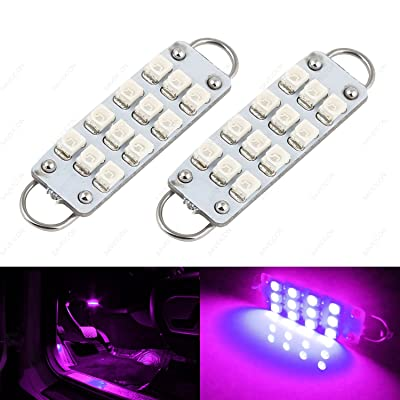 "SAWE - 44mm 12-SMD 3528 Festoon LED Bulbs For Car Side Door Courtesy Rigid Loop 1.73"" LED Light Bulbs 561 562 567 (2 pieces) (Pink/Purple): Automotive"
