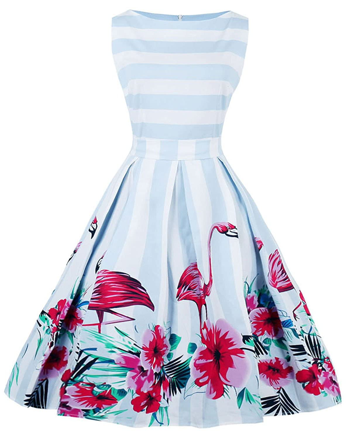 51d3a31c076 ZAFUL Women s Elegant Plus Size Summer Dresses 1950s Vintage Floral Print  Sleeveless Rockabilly Cocktail Party Swing Dress-Blue 1-2XL  Amazon.co.uk   ...