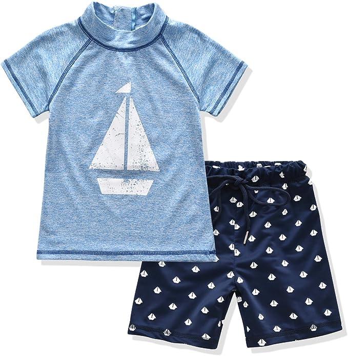 Amazon.com: Little Boy 2 piezas traje de baño camiseta y ...