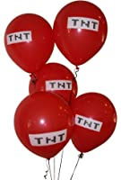 "Pixelated Red TNT Balloon 12"" Inch Latex Party Balloons - 25 Count"
