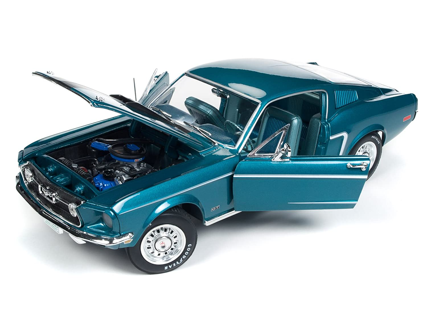 Amazon com 1968 ford mustang gt 2 2 aqua blueclass of 68 50th anniversary limited edition to 1002 pieces worldwide 1 18 diecast model car by autoworld