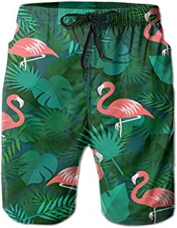 ZKHTO Mens Casual Beachwear Tropical Leaves Flamingos Board Shorts Home Shorts Swim-Trunks with Telescopic Tape