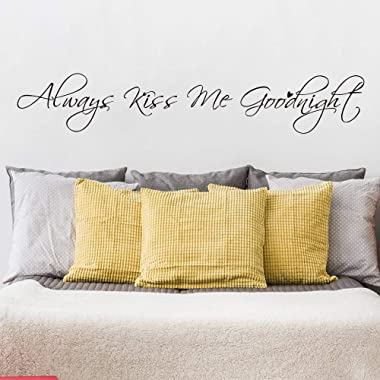 MoharWall Always Kiss Me Goodnight Anniversary Wedding Wall Decal Quotes Bedroom Love Quotes Wall Sticker Vinyl Art Decoration