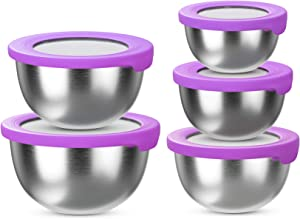 BLNKD Stainless Steel Mixing Bowls with Lids (Set of 5) – Kitchen Nesting Bowl for Serving, Salad, Marinating, Dough, Cooking, Baking & Food Storage – Colorful Lids – Stackable & Space Saving,Purple