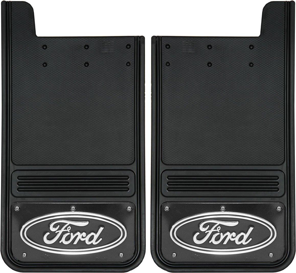 Gatorback Ford Oval Truck Mud Flaps - Rear Pair - Black Wrap Truck Hardware
