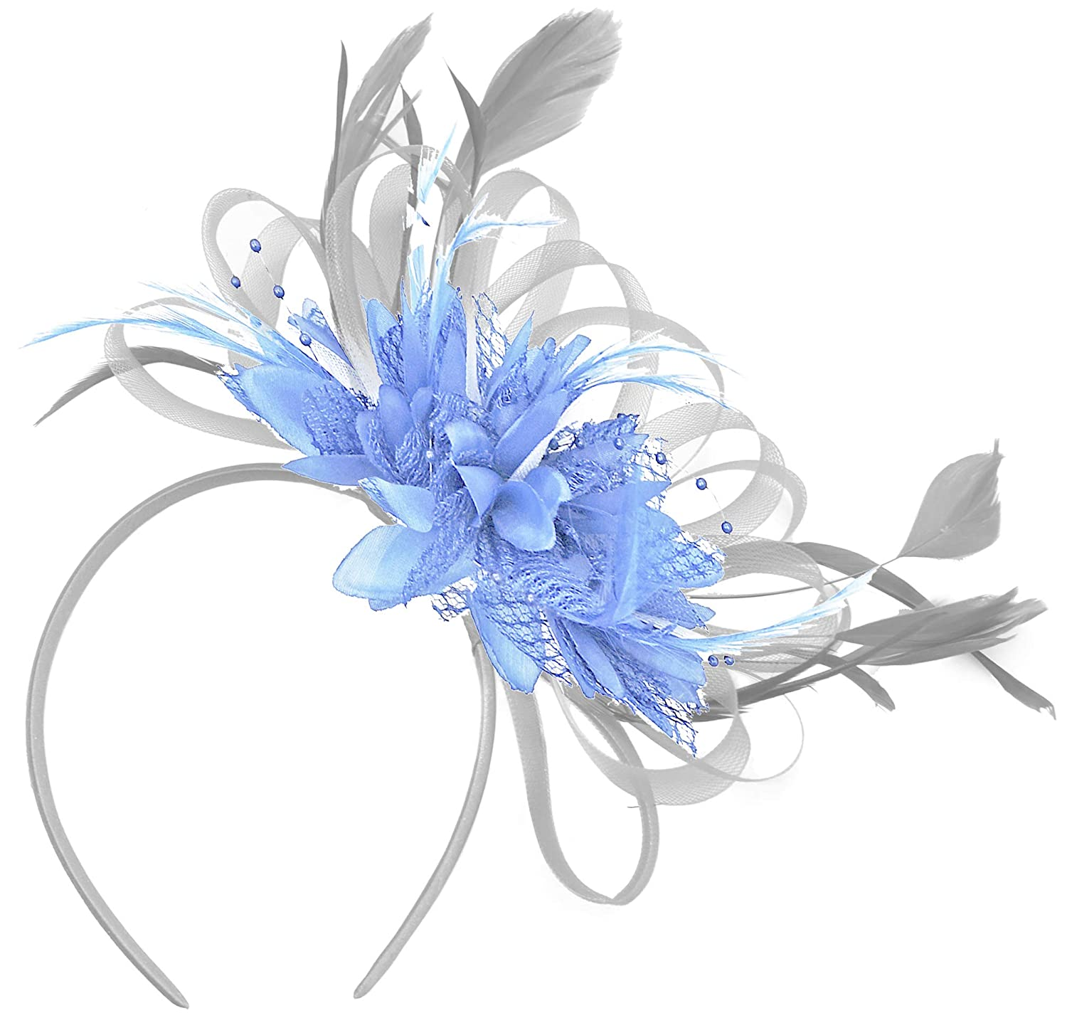 Silver and Baby Blue Fascinator Light Net Hoop Feather Hair Headband  Wedding Royal Ascot Races at Amazon Women s Clothing store  c581a964f30