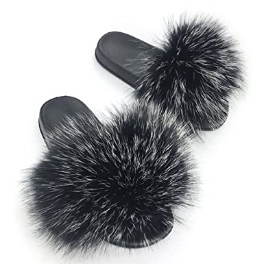 db0fd3134 Image Unavailable. Image not available for. Color: Manka Vesa Womens Luxury  Real Raccon Fur Slippers Slides Indoor Outdoor Flat ...