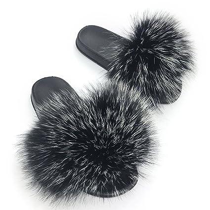 Manka Vesa Womens Luxury Real Raccon Fur Slippers Slides Indoor Outdoor Flat Soles Soft Fall Winter Shoes by Manka Vesa