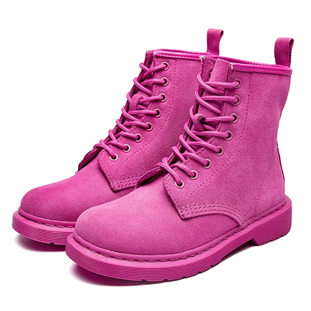 Modemoven Women's Round Toe Leather Lase-up Ankle Boots Ladies Leather Toe Combat Booties Fashion Martens Boots B0773BH1J7 7.5 B(M) US|Pink Suede 7adb1e