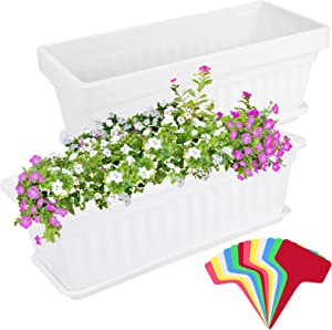 Elcoho 3 Pack Flower Window Box Planters 17 Inches Plastic Vegetable Plant Pot Rectangular Planters with Trays for Windowsill, Patio, Porch, Garden, Home Decor (White)