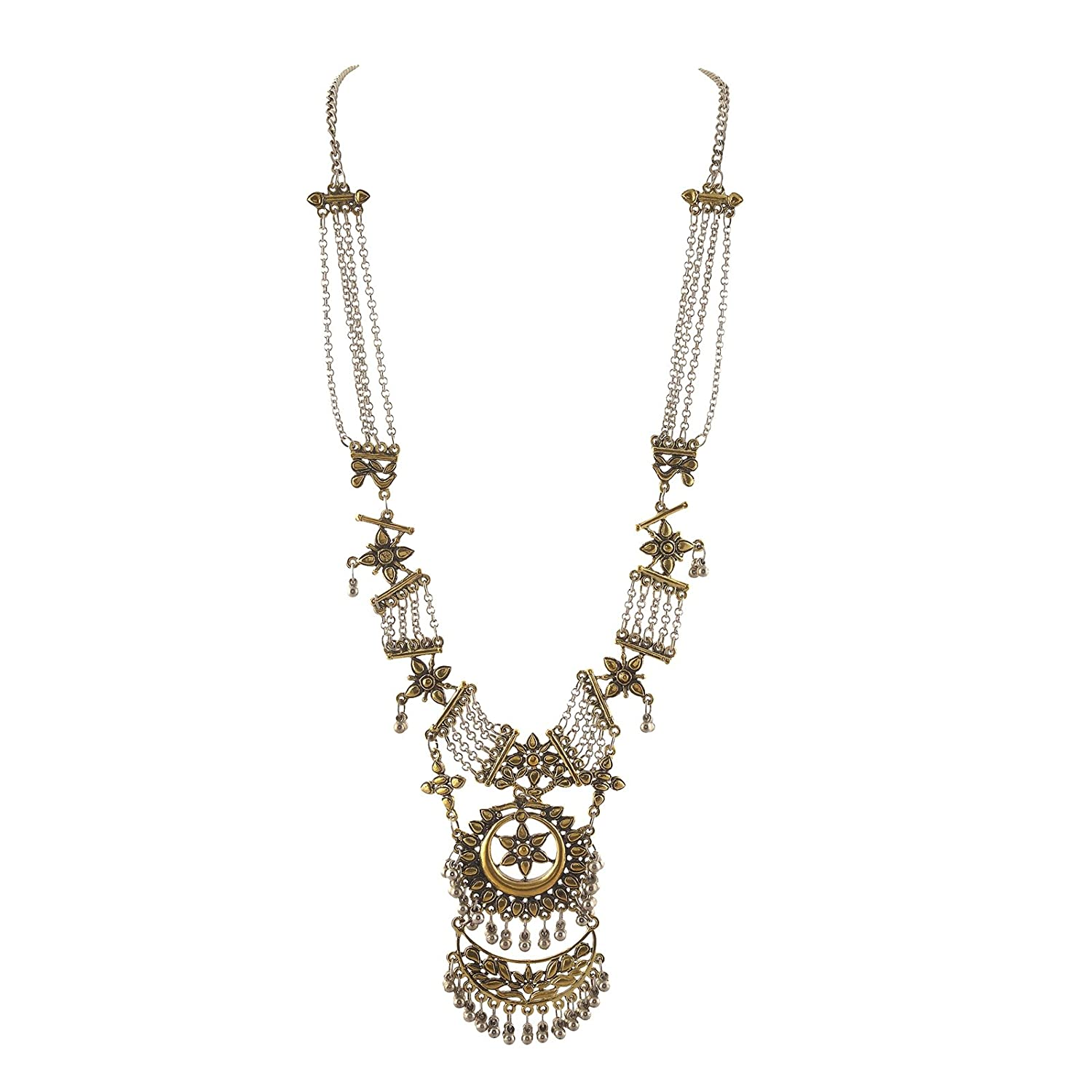 Zephyrr Fashion German Silver Beaded Long Pendant Necklace For Girls and Women