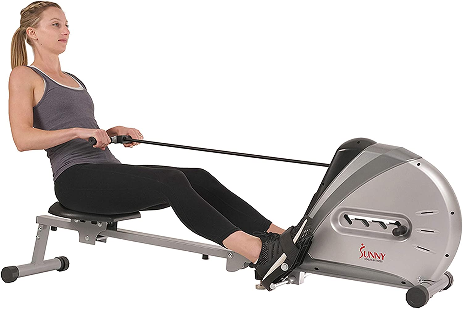 Sunny Health & Fitness SF-RW5606 Elastic Cord Rowing Machine Rower w/LCD Monitor