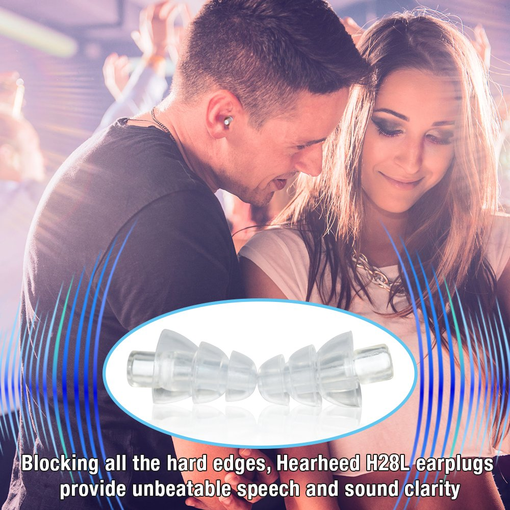 Hearheed High Fidelity Ear Plugs Noise Reduction - Hearing Protection Earplugs for Concerts Loud Live Music and More - DJs Clubbers Motorcycle Riding Construction Work Travel Flying Pressure Earplugs by Hearheed (Image #5)