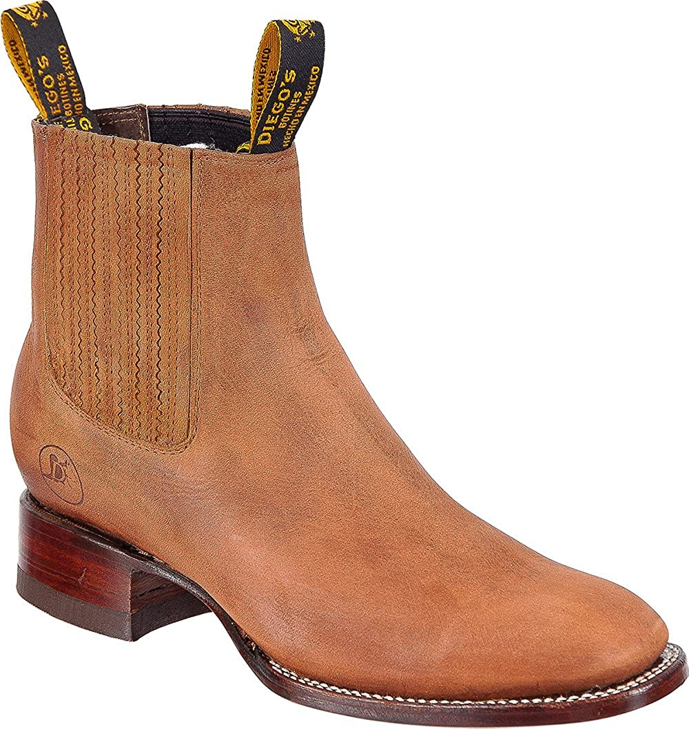 Amazon.com | The Shoppe Mens Cowboy Genuine Cowhide Leather Short Ankle Western Rodeo Biker Boots | Western