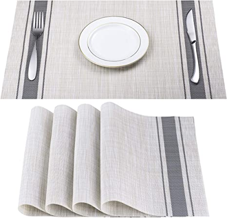 DACHUI Placemats, Heat-Resistant Placemats Stain Resistant Anti-Skid Washable PVC Table Mats Woven Vinyl Placemats, Set of 4 (Grey)
