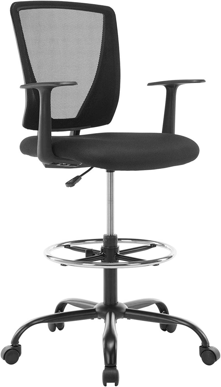 Buyffer Mid Back Mesh Drafting Office Chair in Black with Adjustable Height and Foot Ring, Ergonomic Computer Chair for Standing Desk, 300lb Weight Capacity, OC01BK