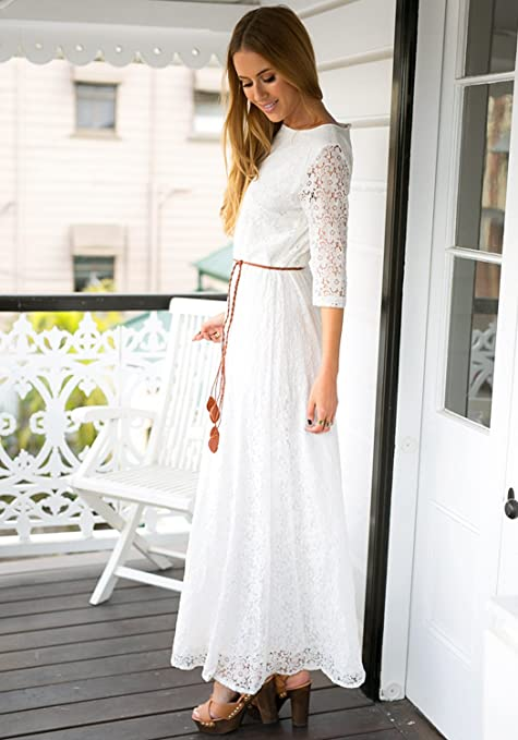 White 3/4 Sleeve Wedding Plus Size Lace Maxi Dress US2-18  AT vintagedancer.com