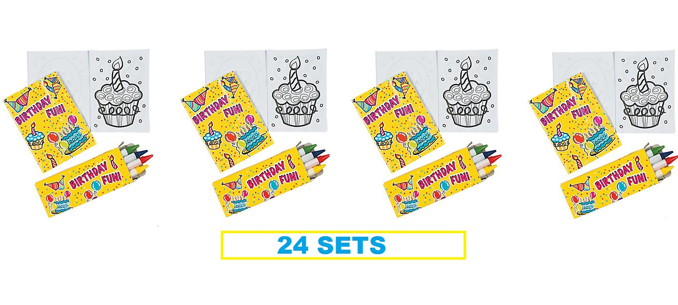 (24) Mini Happy Birthday Coloring Sets ~ Fun Goody Bag Fillers ~ Party Favors ~ Teacher Classroom Gifts ~ 2 Dozen by Toto