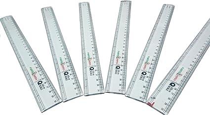 Parth Impex 12 pulgadas clara regla de plástico (Pack de 6) con mm dígitos marcas recta herramienta de medición regla para estudiantes oficina en casa escuela (12 ...