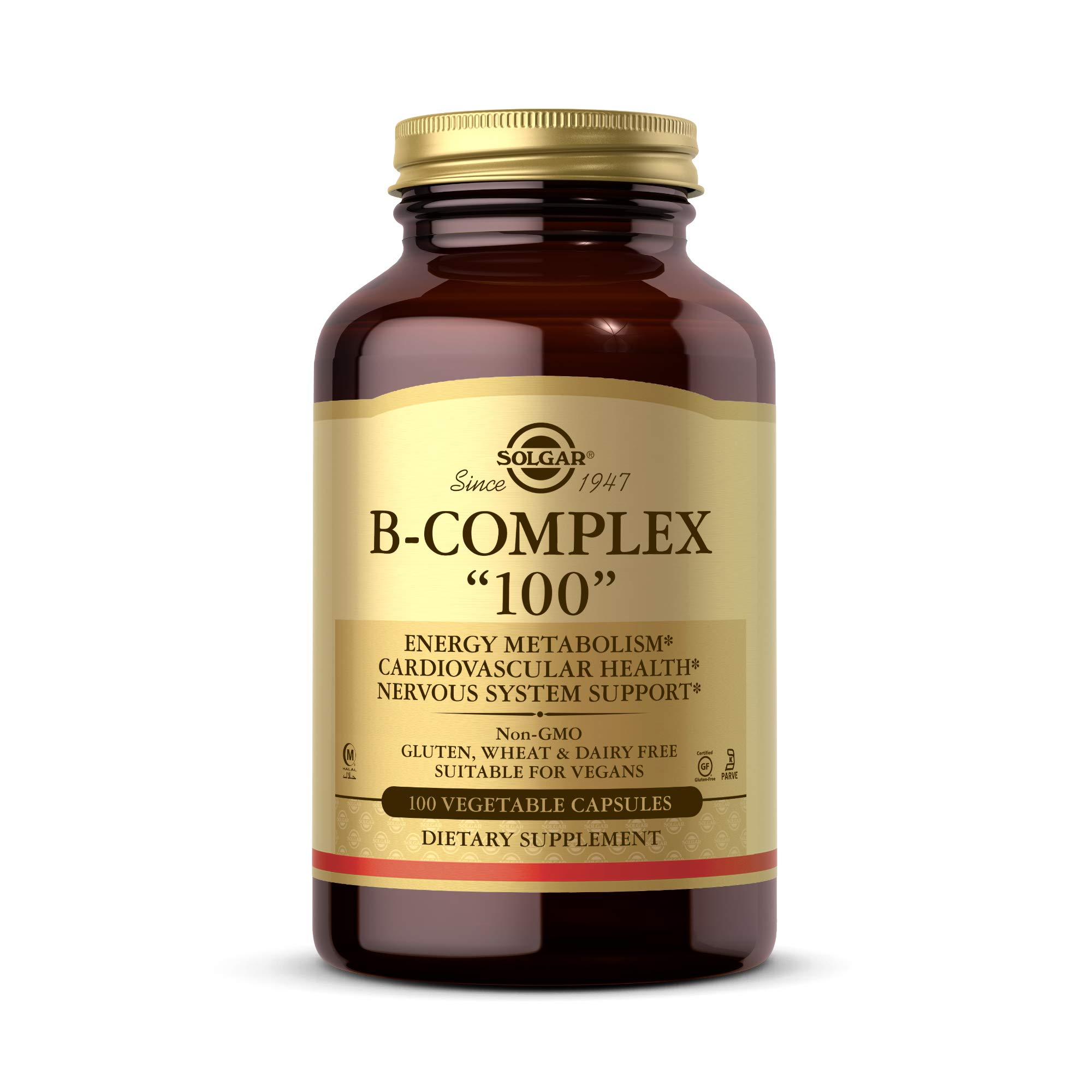 "Solgar B-Complex ""100"", 100 Vegetable Capsules - Heart Health - Nervous System Support - Supports Energy Metabolism - Non GMO, Vegan, Gluten Free, Dairy Free, Kosher, Halal - 100 Servings"