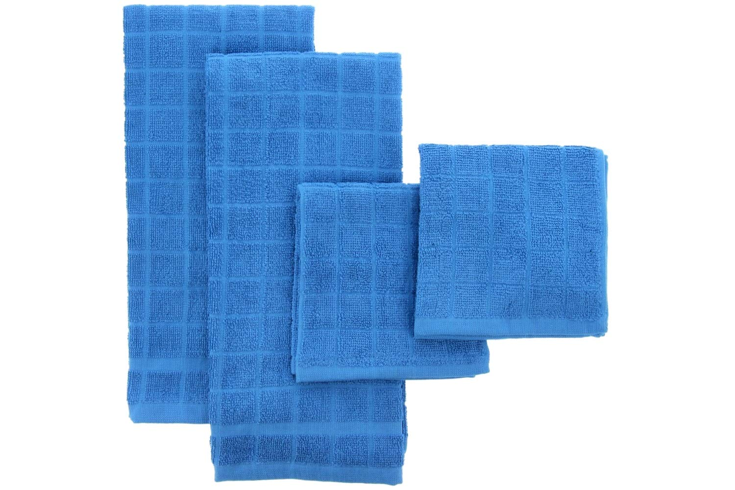 THE FIREFLY COLLECTION Bamboo Kitchen and Dish Towels, A Matching Towel Set 4 Pack, Windowpane Check – Ultra Absorbent, Anti-Microbial, Stylish, Practical – Use for Wiping, Cleaning, Drying