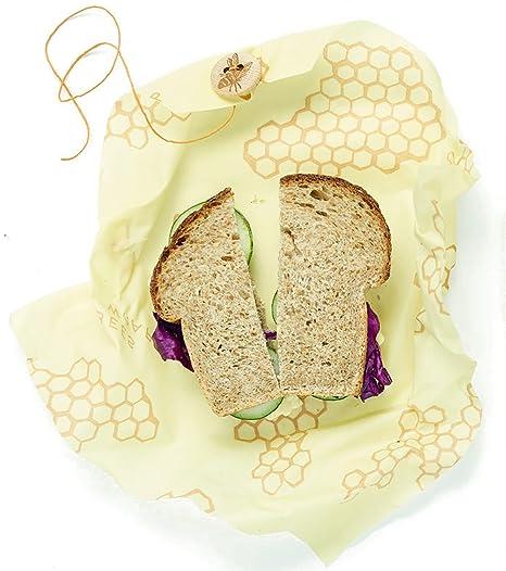Wrap de la Abeja única Sandwich Wrap, 33 x 33 cm/13 x 13 cm, Color Beige