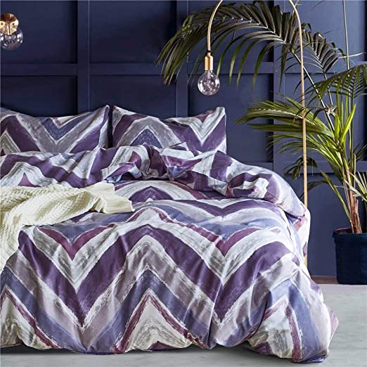Purple Duvet Cover Queen Modern Reversible Purple//White Convallaria Printed Microfiber Bedding Duvet Cover Set with Zipper Closure and 2 Pillowcases 3 Pieces, Queen WONGS BEDDING