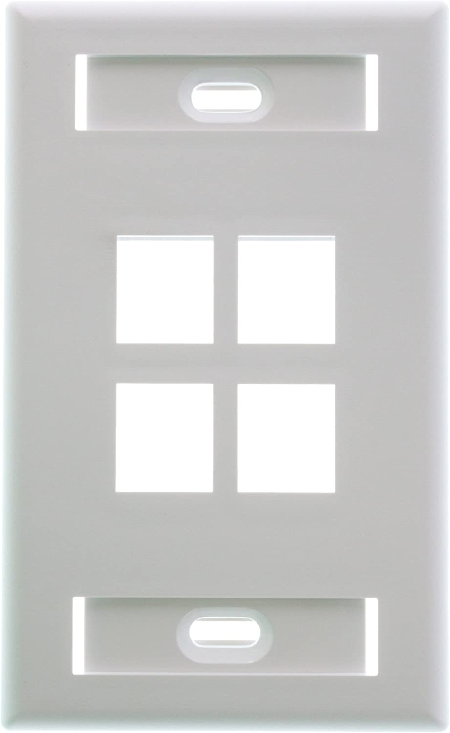 White Leviton 42080-4WS QuickPort Wallplate 1 Gang 4 Port Standard Size Plastic Pkg of 10
