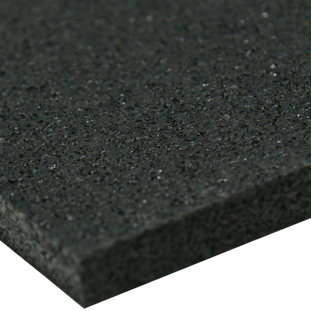 Recycled Rubber Sheet, 60 Shore A, Black, Smooth Finish, No Backing, 3/8'' Thickness, 48'' Width, 12'' Length