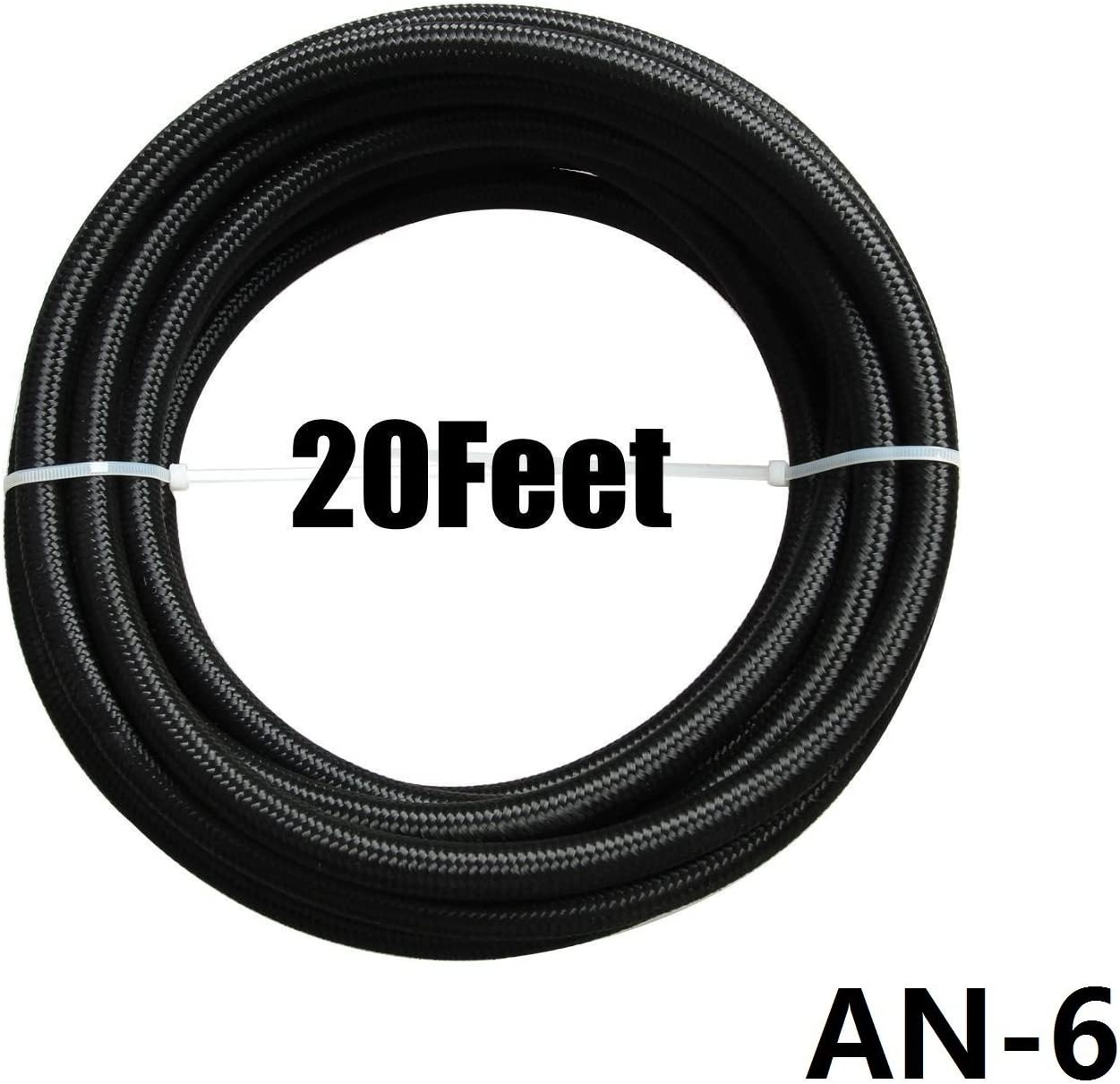12AN Fittings Kit Black yjracing 20Ft 12-an Nylon Oil Fuel Gas Line Hose