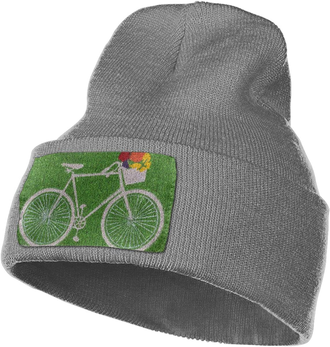 A Bike Painted On The Lawn Cute Beanie Hat Mens Womens 100/% Acrylic Knitted Hat Cap