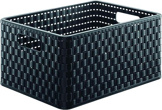 Rotho Country - Caja de almacenaje con efecto de mimbre, Negro, A4: Amazon.es: Hogar