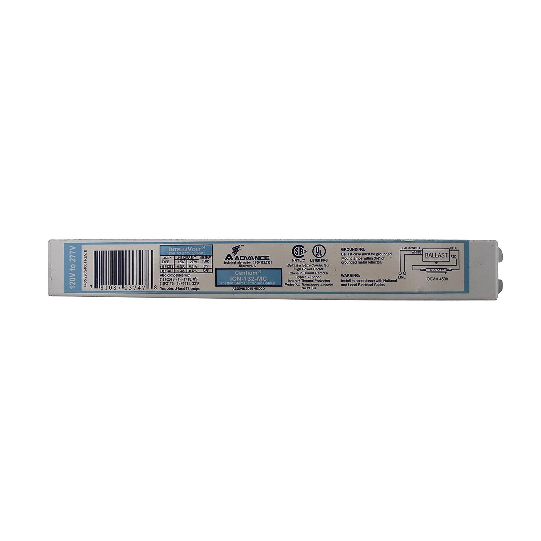 Advance ICN-132-MC Electronic Fluorescent Ballast, 1 Lamp, 32W T8, 120/277V Philips Group