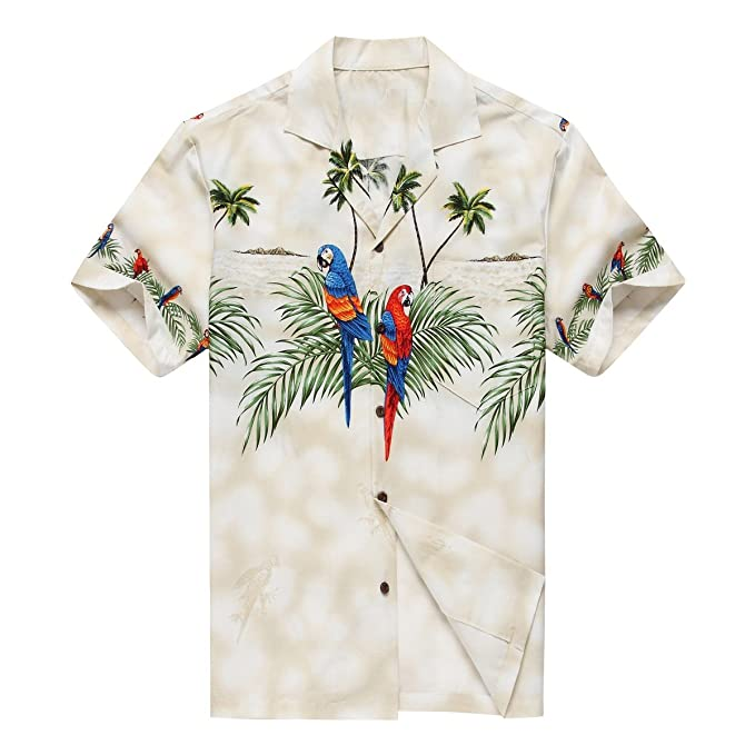 0d7ecce1 Made in Hawaii Men's Hawaiian Shirt Aloha Shirt S Off-White with Matching  Front Parrots