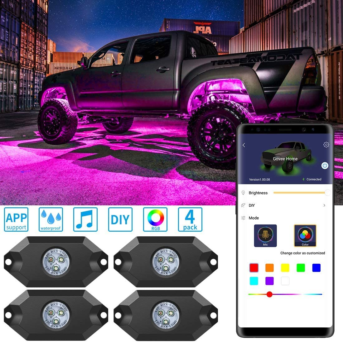 Govee RGB LED Rock Lights, 4 Pods Bluetooth APP Remote Control Waterproof Exterior Underglow, Multicolor Music Changing Dimmable Neon Lighting Kit for Jeep Off Road Truck Car ATV SUV Motorcycle, 12V: Automotive