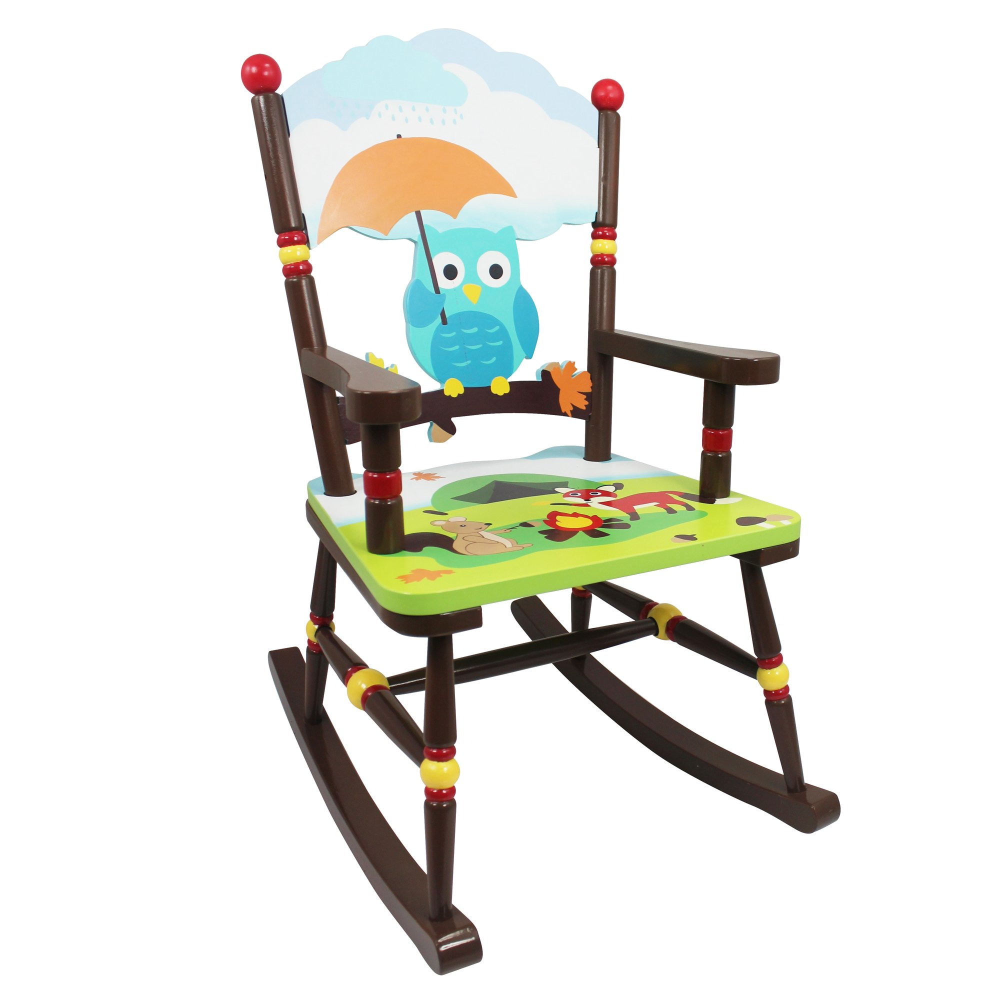 Fantasy Fields - Enchanted Woodland Thematic Kids Wooden Rocking Chair | Imagination Inspiring Hand Crafted & Hand Painted Details   Non-Toxic, Lead Free Water-based Paint