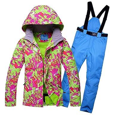Traje de esquí para Mujer Chaqueta con Capucha Fleece Traje de ...