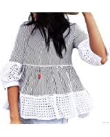 Chicwish Women's Black Stripes Contrast Ruffle Shirt Blouse Top with Eyelet Cuffs and Hemline
