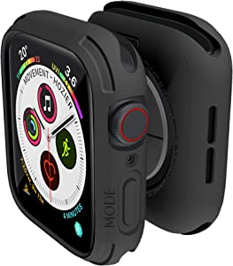 elkson Compatible with Apple Watch Series 6 SE 5 4 Bumper case Cover 44mm iwatch Quattro Series Cases Fall Protection Durable Military Grade Protective TPU Flexible Shock Proof Resist 44 mm Black