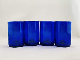 product image for Tumblers Drinking Glasses Made From Recycled Wine Bottles 12 Oz - set of 4 (Blue Cobalt with Punt, 12 oz)