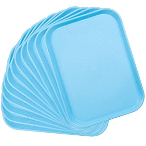 12-pack Fast Food Cafeteria Tray | Twelve 12 x 16 Rectangular Textured Plastic Food Serving TV Tray Multipack | School Lunch, Diner, Commercial Kitchen Restaurant Equipment (Blue)